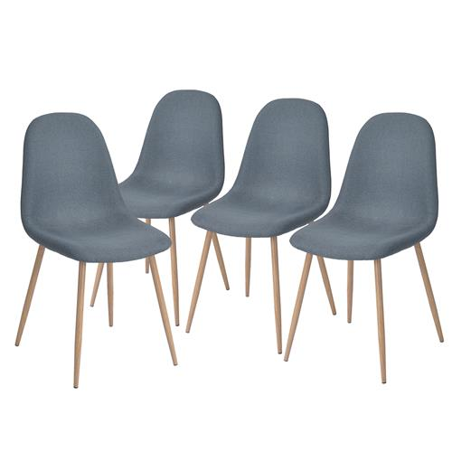 FurnitureR Charlton Blue Chair ( Set of 4)