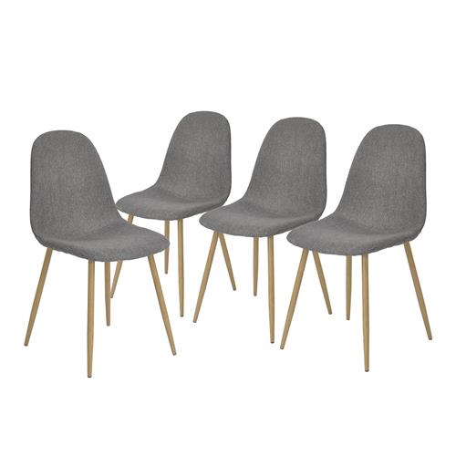 FurnitureR Charlton Grey Chair ( Set of 4)