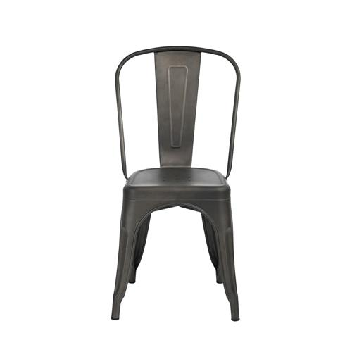 FurnitureR Milehouse MCP Gun Metal Chair ( Set of 2)
