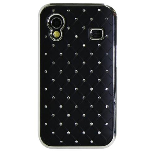 Exian Samsung Galaxy Ace Hard Plastic Case Embedded Crystals Black