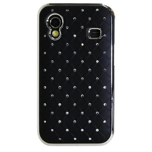 Exian Samsung Galaxy Ace Hard Plastic Case Embedded Crystals Black