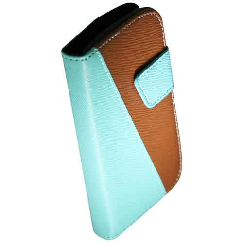 Exian Samsung Galaxy Ace 2X PU Leather Wallet 2-Tone Color Green/Brown