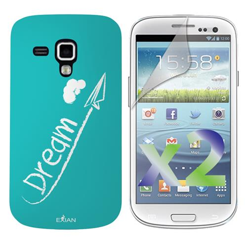 Exian Samsung Galaxy Ace 2X Screen Protectors X 2 and TPU Case Exian Design Drem on Teal