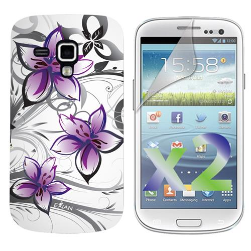 Exian Samsung Galaxy Ace 2X Screen Protectors X 2 and TPU Case Exian Design Purple Floral on White