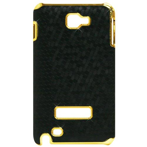 Exian Samsung Galaxy Note Hard Plastic Case Metallic Gold with Hexangn Pattern Wrapped Black
