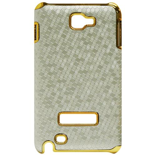 Exian Samsung Galaxy Note Hard Plastic Case Metallic Gold with Hexangn Pattern Wrapped Silver