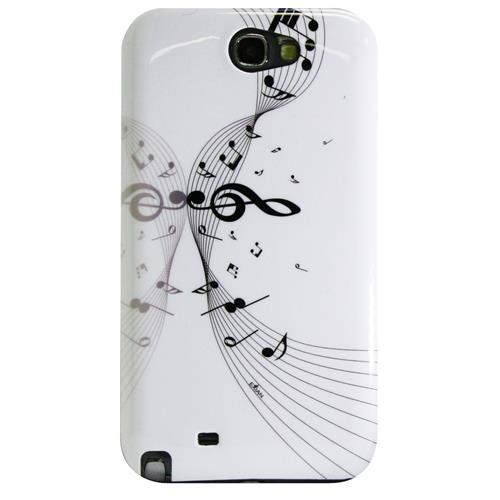 Exian Samsung Galaxy Note 2 Hard Plastic Case Exian Design Musical notes White