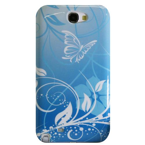 Exian Samsung Galaxy Note 2 Hard Plastic Case Exian Design Flower & Butterfly Blue