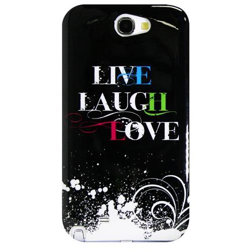 Exian Samsung Galaxy Note 2 Hard Plastic Case Exian Design Liuve/Laugh/Love(2) Black