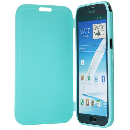 Exian Samsung Galaxy Note 2 TPU Case with Front Cover Green