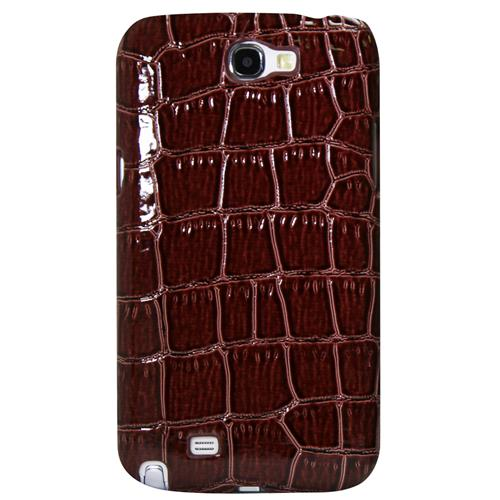 Exian Samsung Galaxy Note 2 Hard Plastic Case PU Crocodile Skin Wrapped Brown