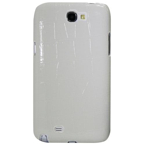 Exian Samsung Galaxy Note 2 Hard Plastic Case PU Crocodile Skin Wrapped White
