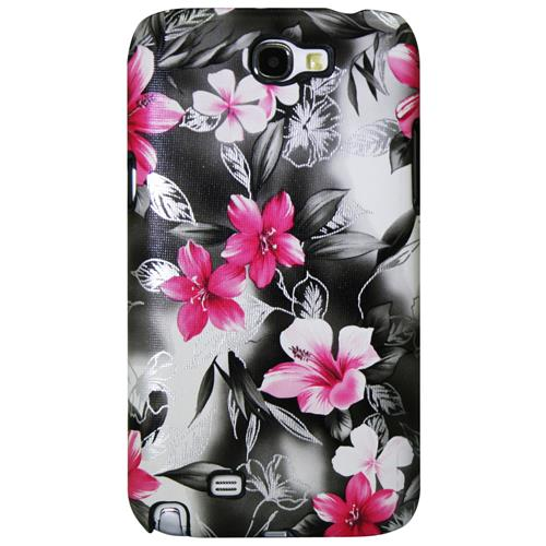 Exian Samsung Galaxy Note 2 Hard Plastic Case Floral Pattern Wrapped Pink/Black