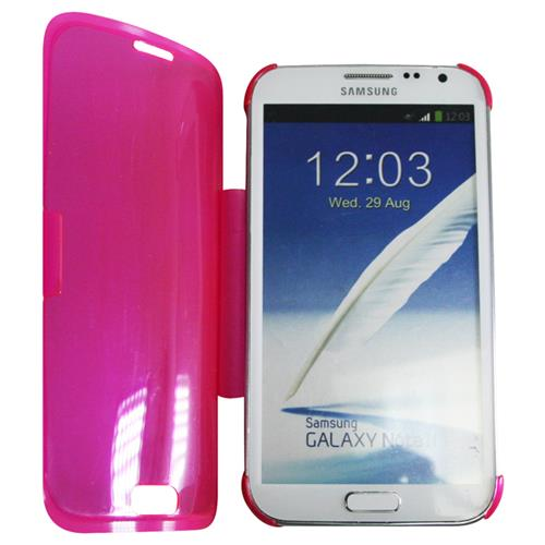 Exian Samsung Galaxy Note 2 TPU Case with Front Cover Transparent Pink