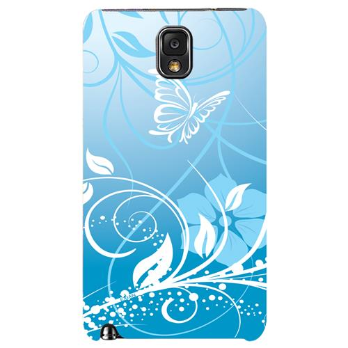 Exian Samsung Galaxy Note 3 TPU Case Exian Flower & Butterfly Blue