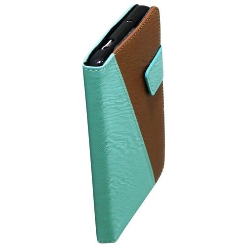 Exian Samsung Galaxy Note 3 PU Leather Wallet 2-Tone Color Green/Brown