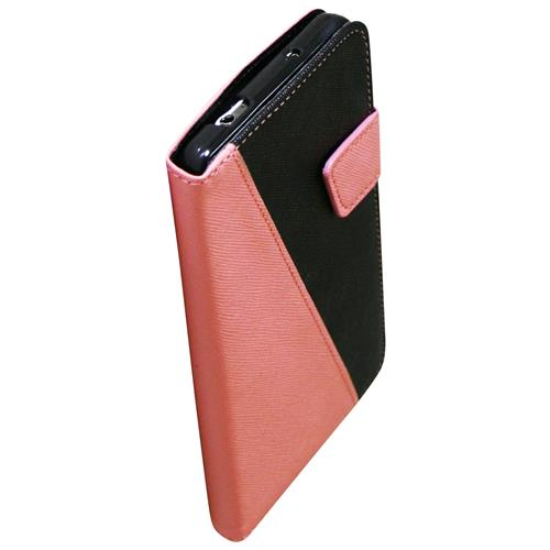 Exian Samsung Galaxy Note 3 PU Leather Wallet 2-Tone Color Pink/Black