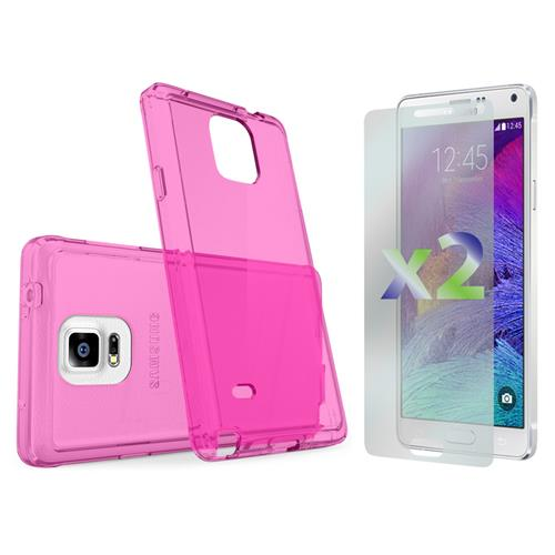 Exian Samsung Galaxy Note 4 TPU Slim Case Transparent Hot Pink