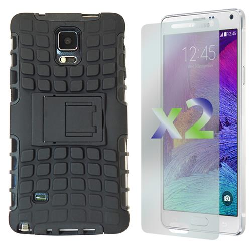 Exian Samsung Galaxy Note 4 Armored Case with Stand Black
