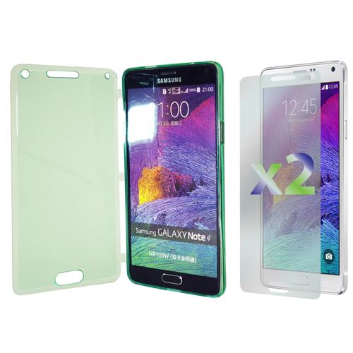 Exian Samsung Galaxy Note 4 TPU Case with Front Cover Transparent Green
