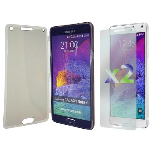 Exian Samsung Galaxy Note 4 TPU Case with Front Cover Transparent Grey