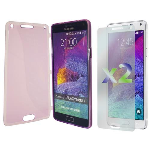 Exian Samsung Galaxy Note 4 TPU Case with Front Cover Transparent Purple