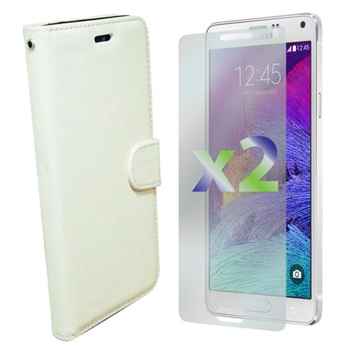 Exian Samsung Galaxy Note 4 PU Leather Wallet White