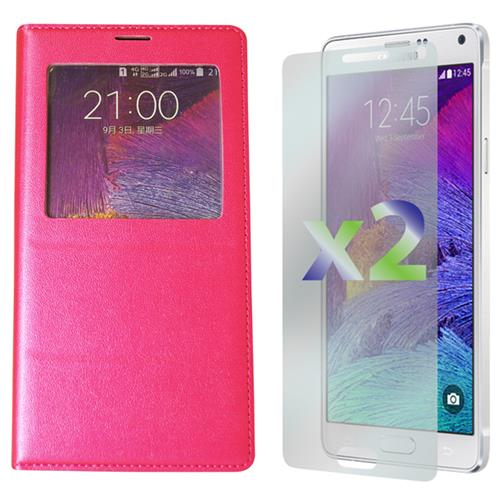 Exian Samsung Galaxy Note 4 PU Leather Wallet Call Access Pink