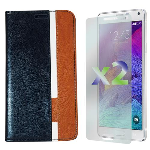 Exian Samsung Galaxy Note 4 PU Leather Wallet Tri-Color Black