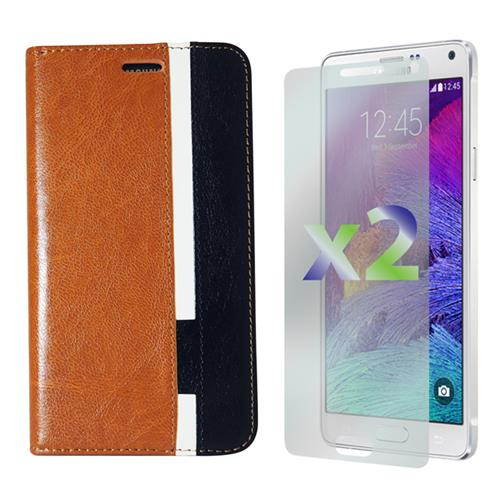 Exian Samsung Galaxy Note 4 PU Leather Wallet Tri-Color Brown