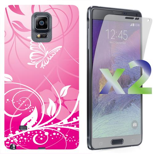 Exian Samsung Galaxy Note 4 TPU Case Exian Design Flower & Butterfly Pink