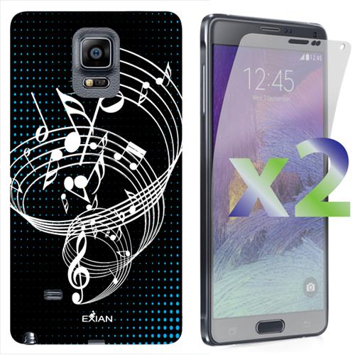 Exian Samsung Galaxy Note 4 TPU Case Exian Design Musical Notes Black