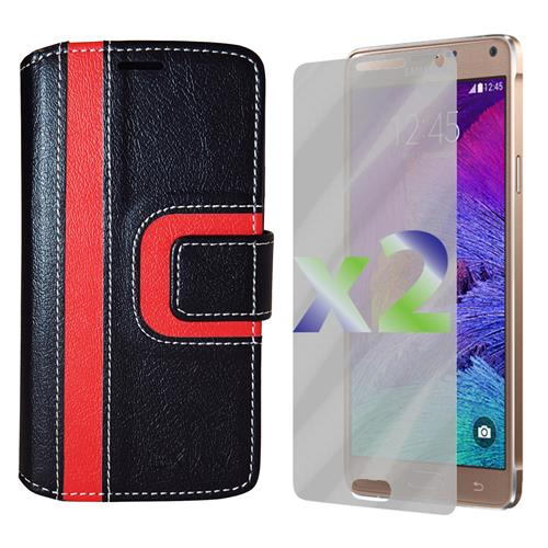 Exian Samsung Galaxy Note 4 PU Leather Wallet Exian Design with Striped Pattern Black/Red