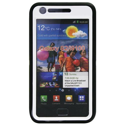 Exian Samsung Galaxy S2 Double Case TPU+Hard Plastic Black/White