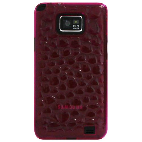 Exian Samsung Galaxy S2 Silicone Case Bubble Pattern Transparent Pink