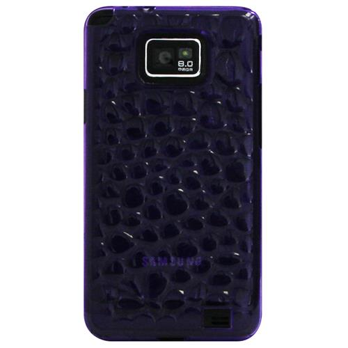 Exian Samsung Galaxy S2 Silicone Case Bubble Pattern Transparent Purple