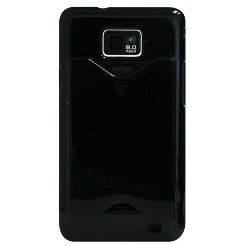 Exian Samsung Galaxy S2 Hard Plastic Case with Card Slot Black