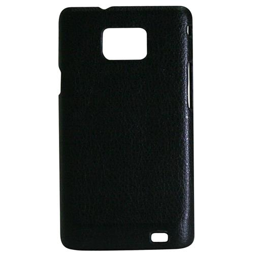 Exian Samsung Galaxy S2 Hard Plastic Case PU Leather Wrapped Around Black