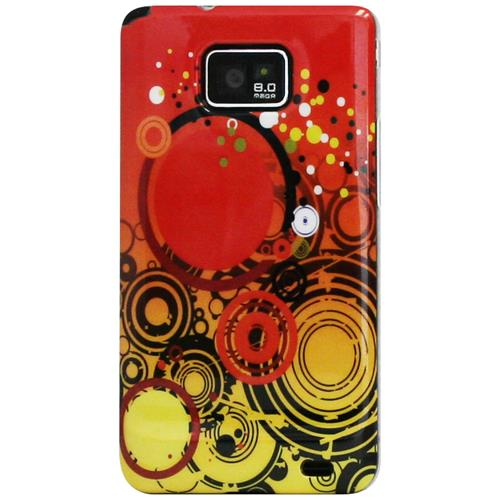 Exian Samsung Galaxy S2 Hard Plastic Case Exian Design Multi Circles Orange