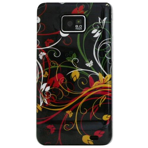 Exian Samsung Galaxy S2 Hard Plastic Case Exian Design Multi Color Floral Pattern on Black