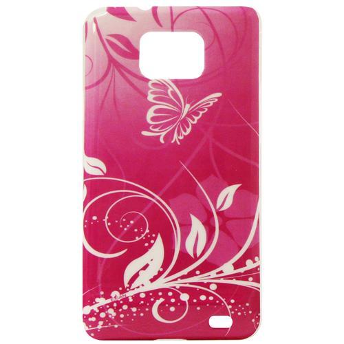 Exian Samsung Galaxy S2 Hard Plastic Case Exian Design Flower & Butterfly Pink