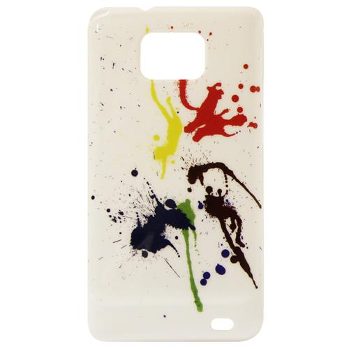 Exian Samsung Galaxy S2 Hard Plastic Case Exian Design Paint Splatter on White