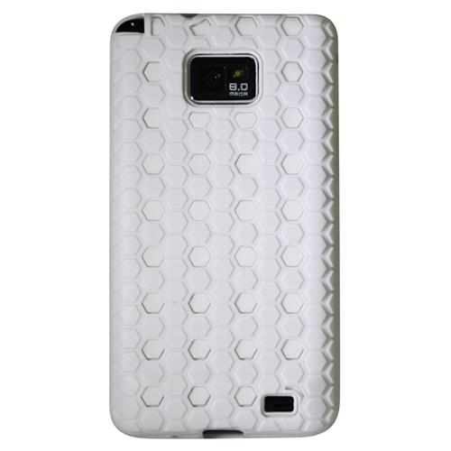 Exian Samsung Galaxy S2 Double Case TPU+Hard Plastic Dotted Pattern White