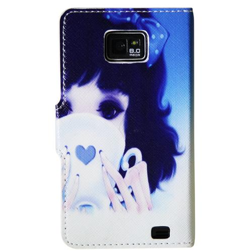 Exian Samsung Galaxy S2 PU Leather Wallet Girl in Blue Pattern