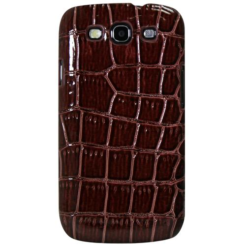 Exian Samsung Galaxy S3 Hard Plastic Case PU Crocodile Skin Wrapped Around Brown
