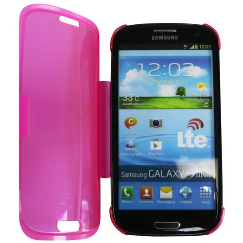 Exian Samsung Galaxy S3 TPU Case with Front Cover Transparent Pink