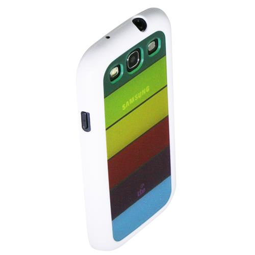 Exian Samsung Galaxy S3 TPU Case with Rainbow Backcover White