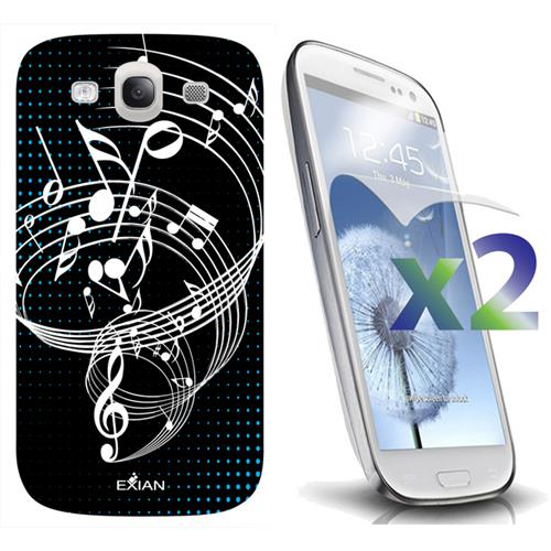 Exian Samsung Galaxy S3 Screen Protectors X 2 TPU Case Exian Design Musical Notes Black