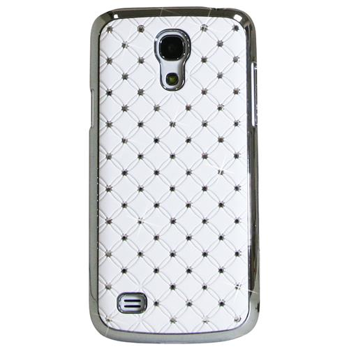 Exian Samsung Galaxy S4 Mini Hard Plastic Case Silver Plated Embedded Crystals White