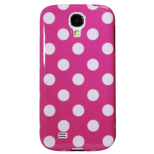 Exian Samsung Galaxy S4 TPU Case Polka Dots Pink